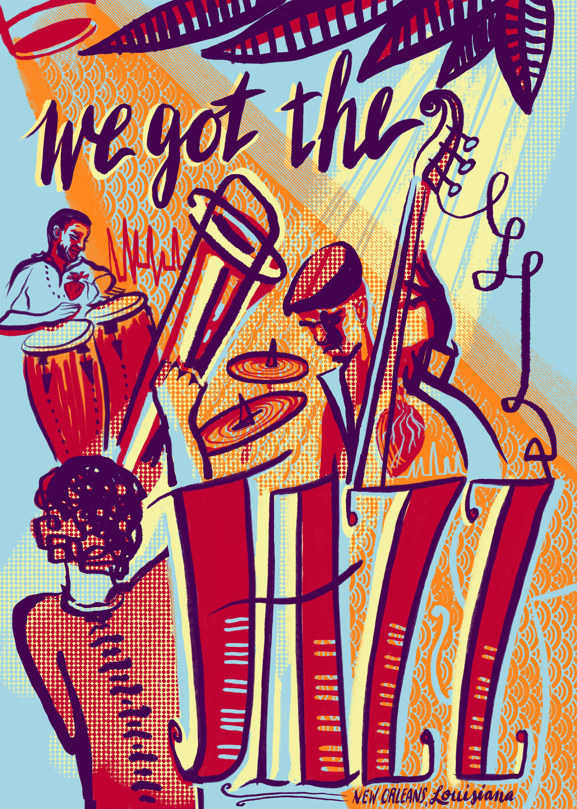 No Jazz Fest >> We Got The Jazz Screen Printed Poster Benefits N O Musicians Clinic 18x24